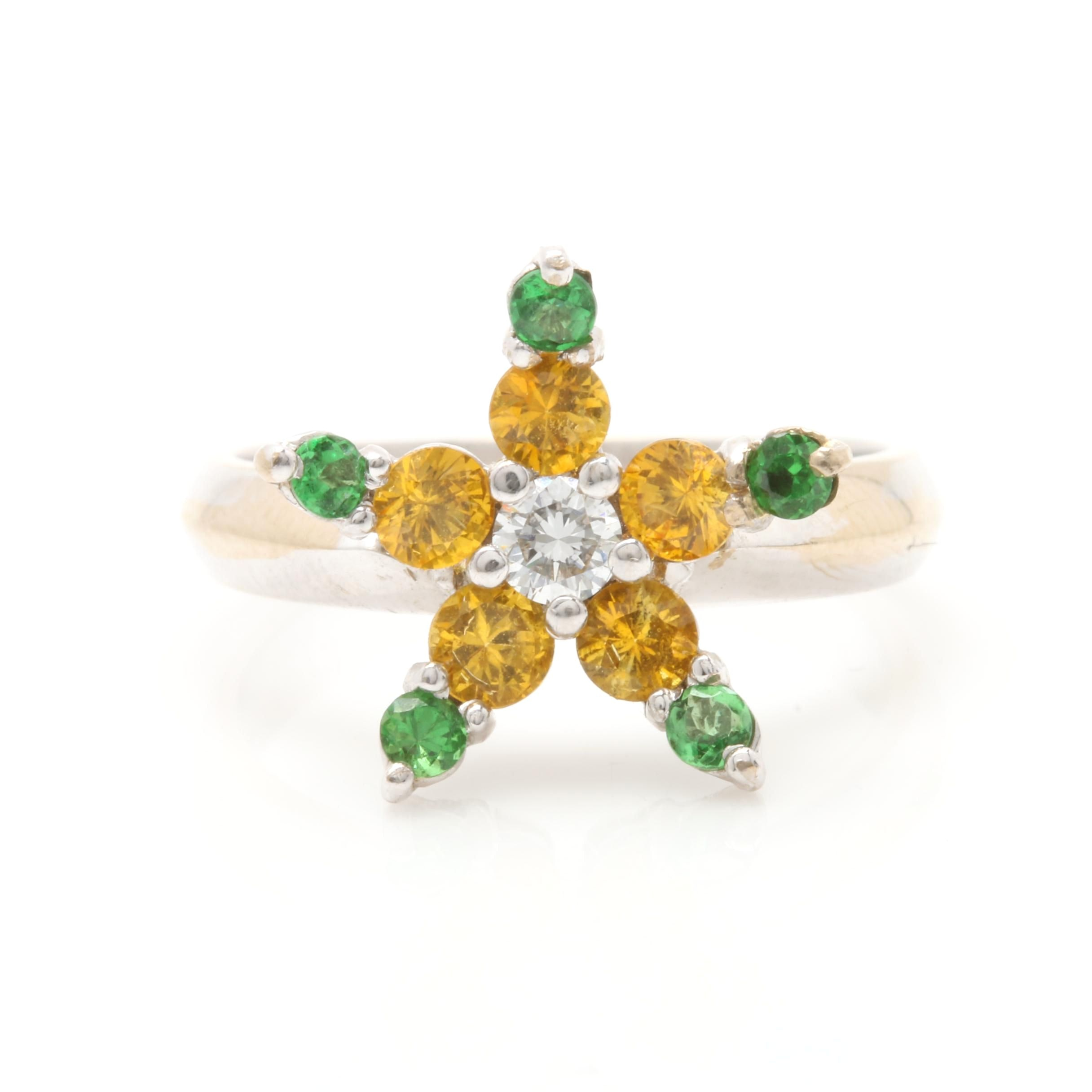 18K White Gold Diamond, Yellow Sapphire and Tsavorite Ring