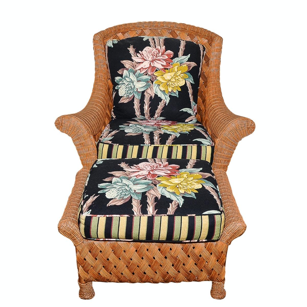 Palecek Wicker Chair With Ottoman ...