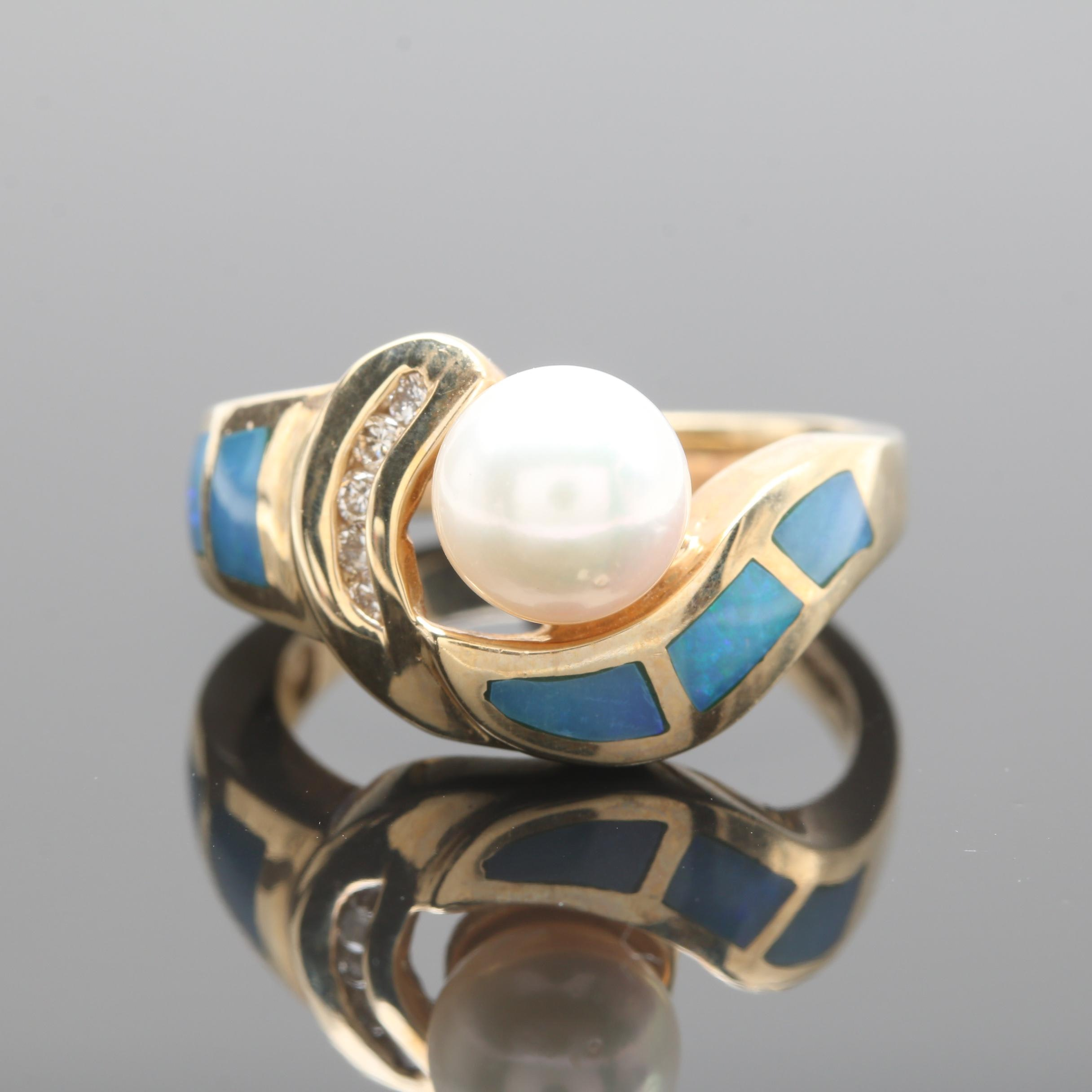 14K Yellow Gold Cultured Pearl, Diamond and Opal Doublet Ring