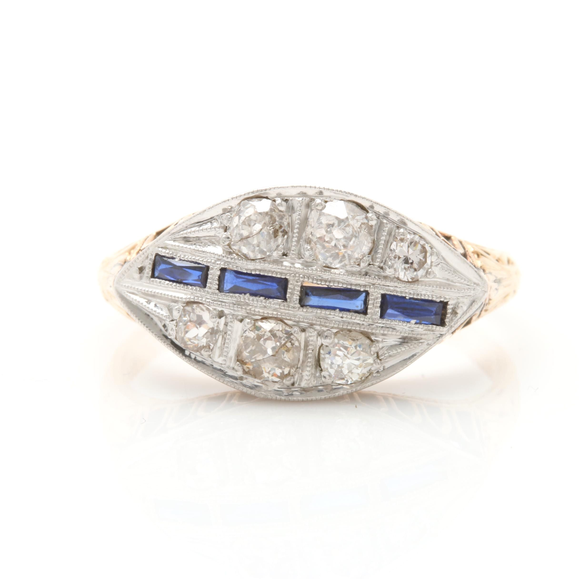 Art Deco Korbin Bros. Platinum and 14K Gold Diamond and Synthetic Sapphire Ring