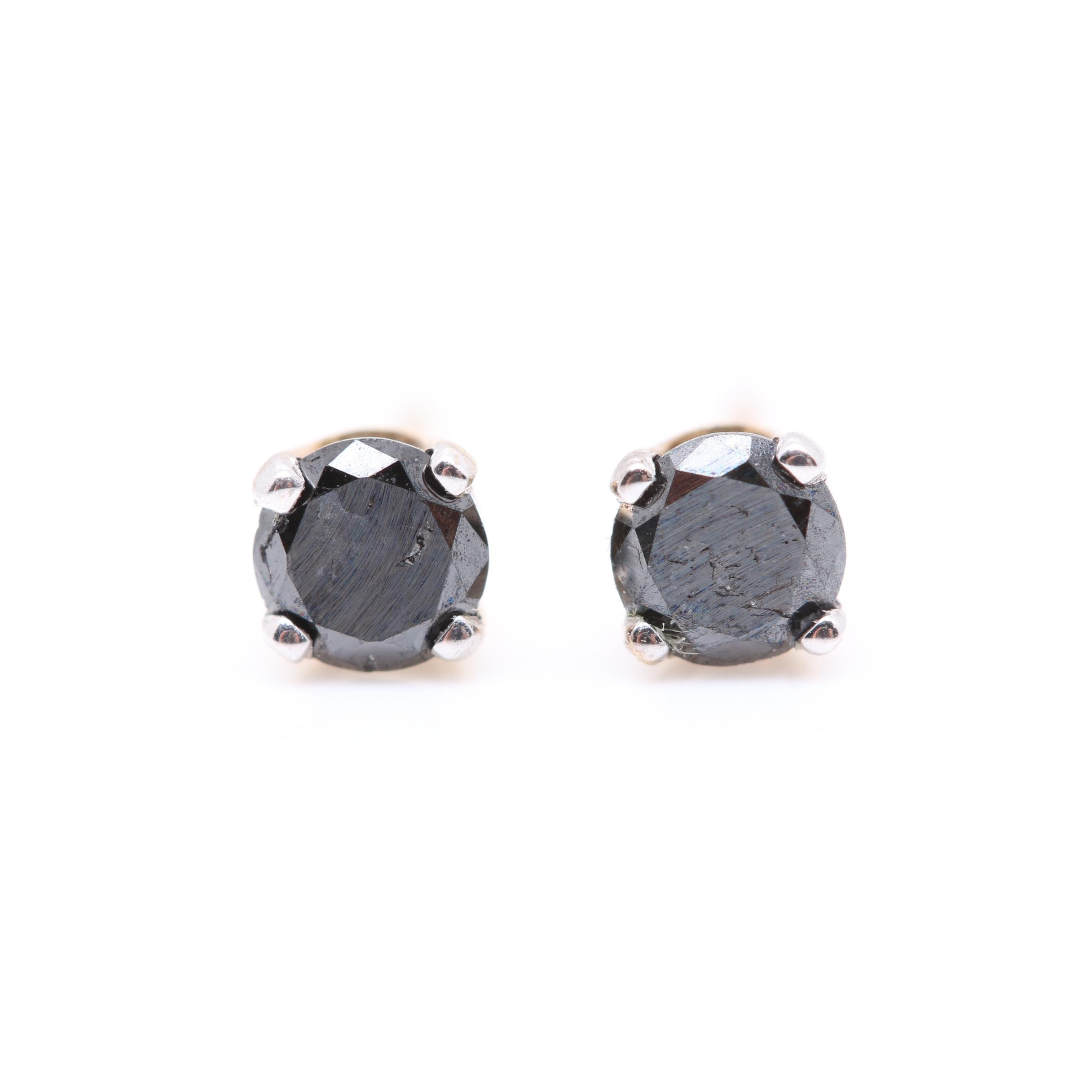 10K and 14K Yellow Gold Black Diamond Stud Earrings
