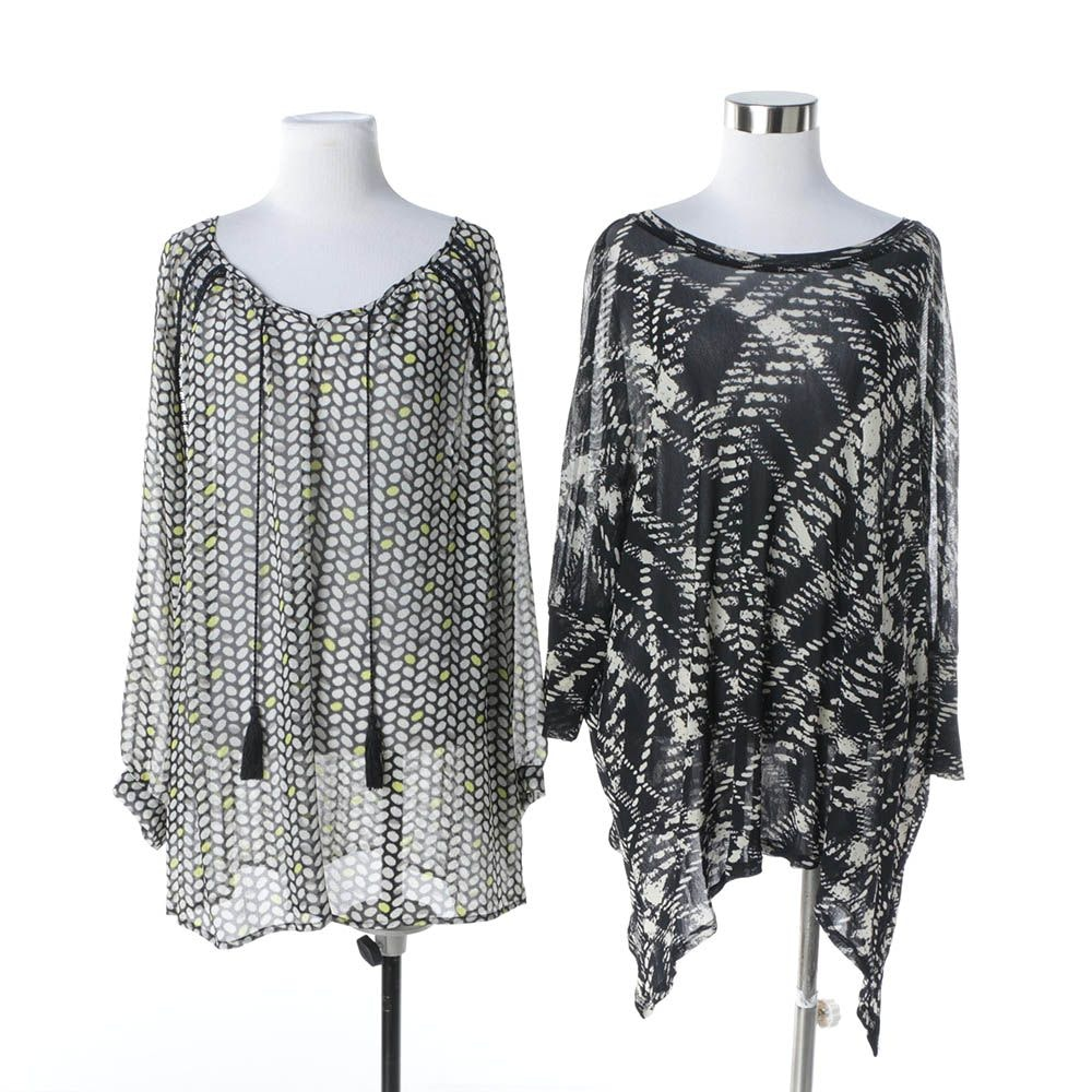 Two by Vince Camuto and Karen Kane Printed Sheer Chiffon Blouses