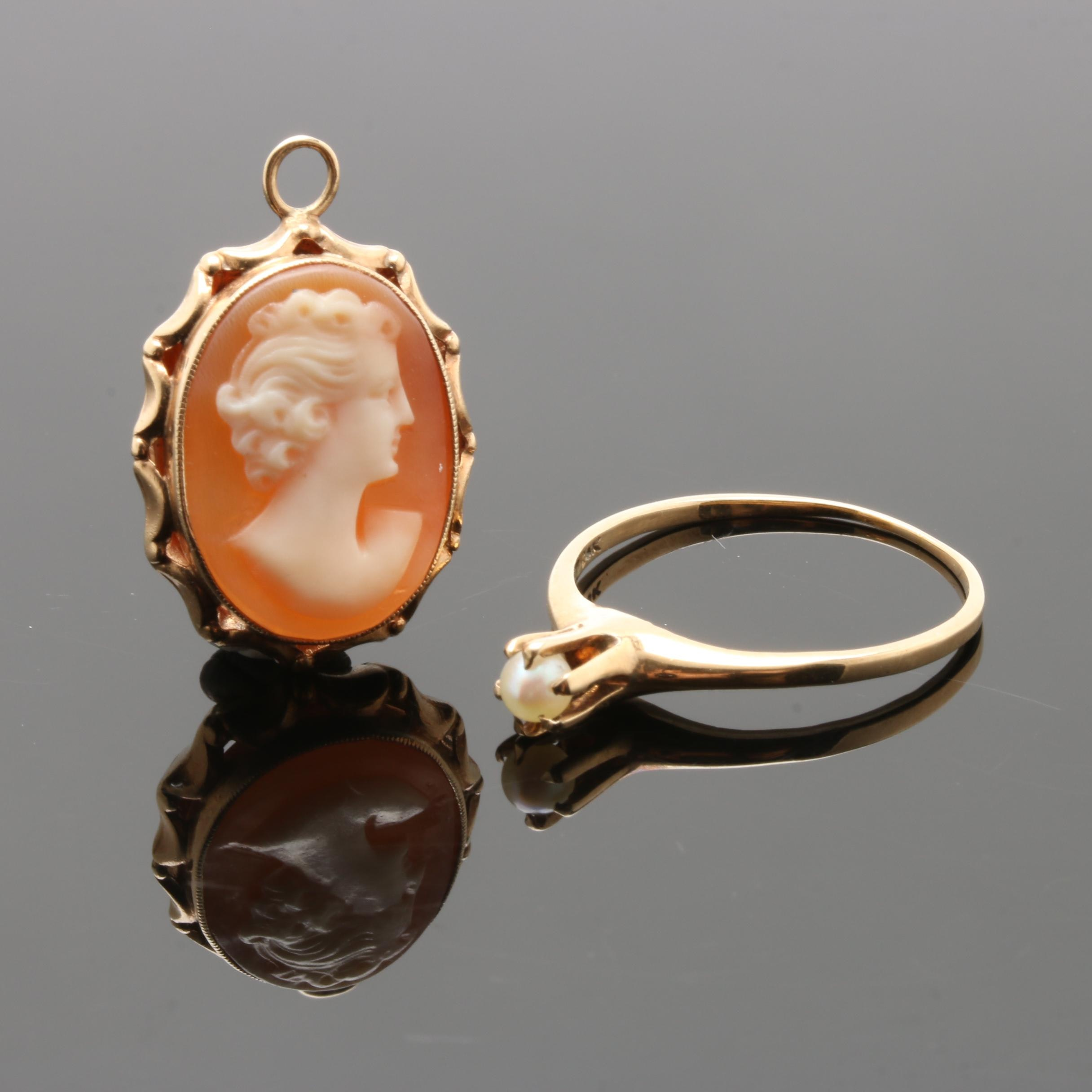 14K Yellow Gold Shell Cameo Pendant and Cultured Pearl Solitaire Ring