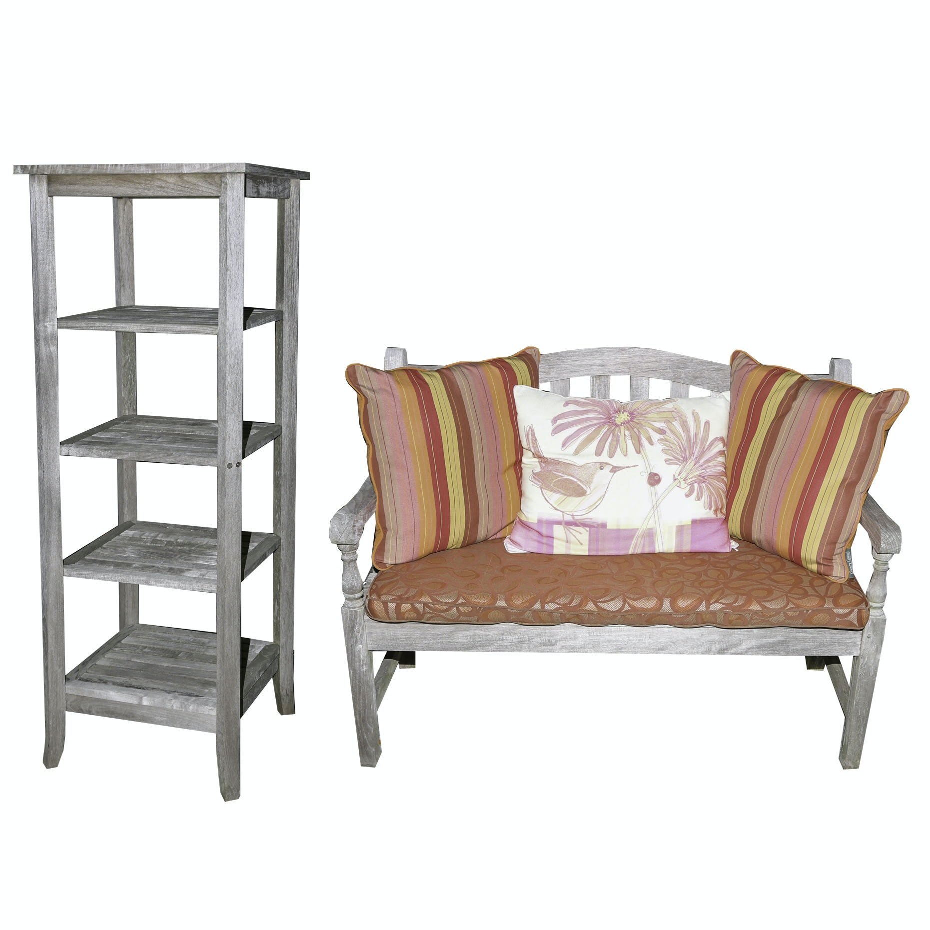 Barlow-Tyrie Teak Patio Settee and Country Casual Étagère