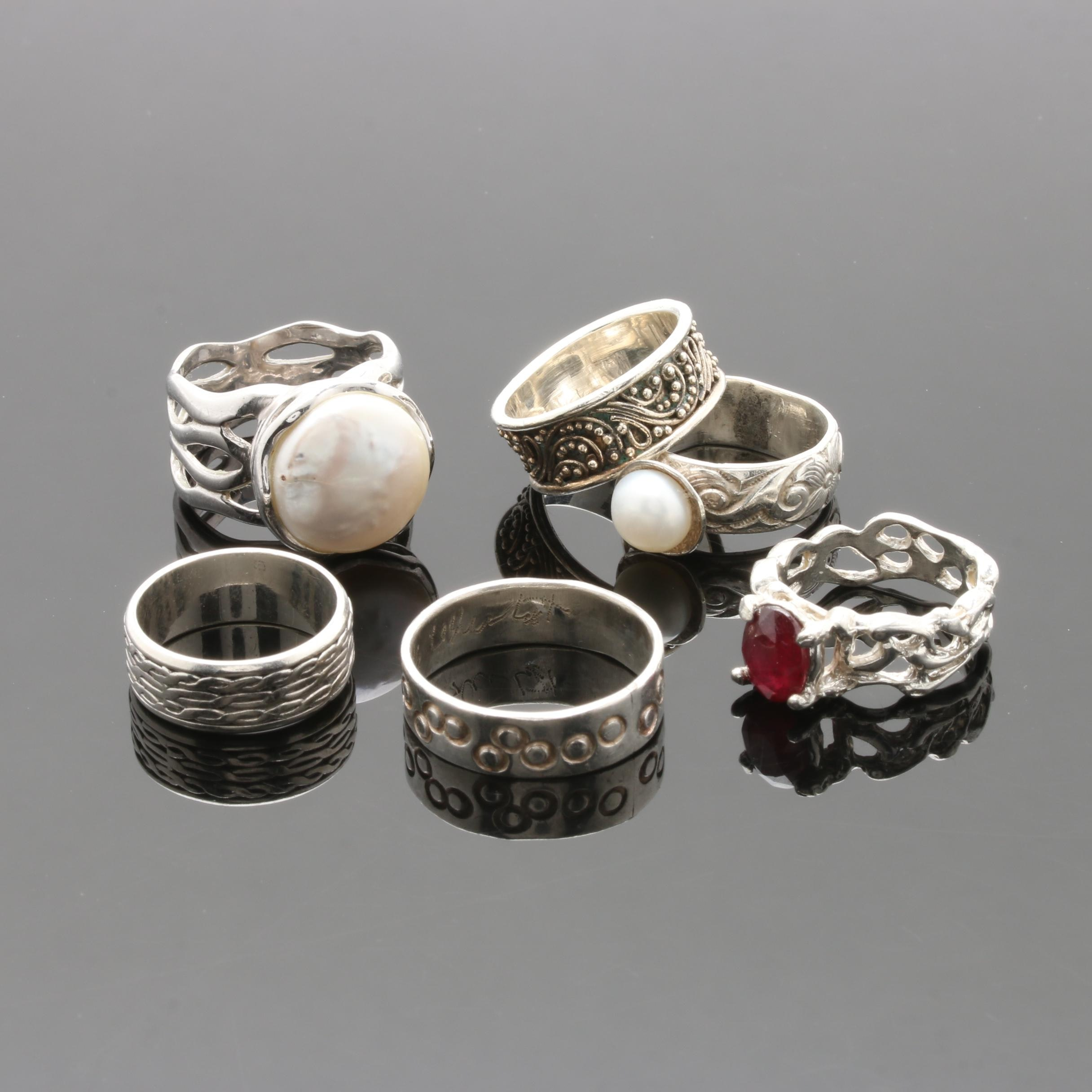 Assorted Sterling and Fine Silver Rings Featuring Ruby and Cultured Pearl