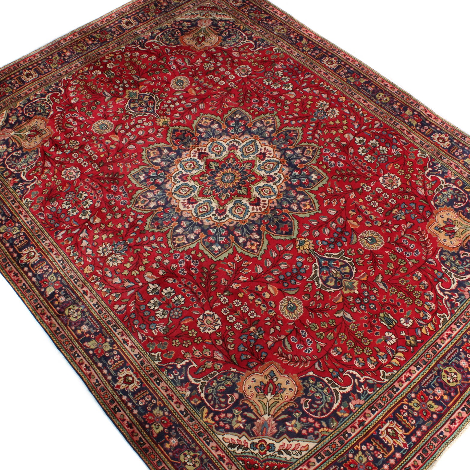 9' x 12' Vintage Hand-Knotted Persian Ghombad Room Size Rug