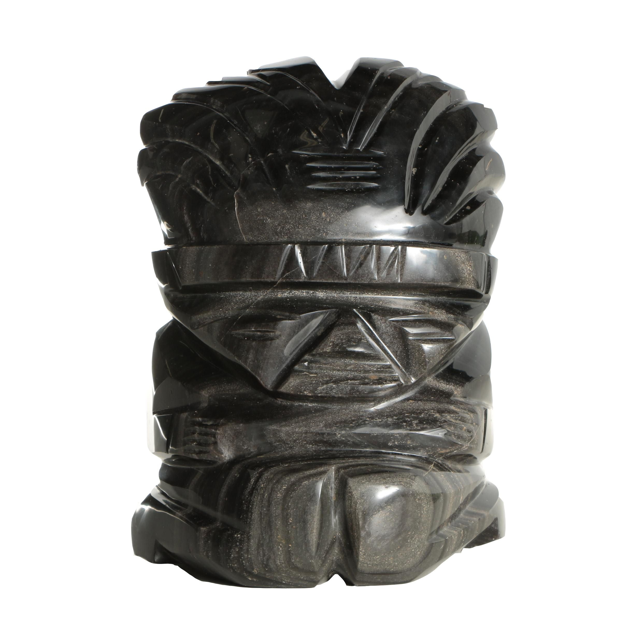 Carved Chatoyant Obsidian Sculpture