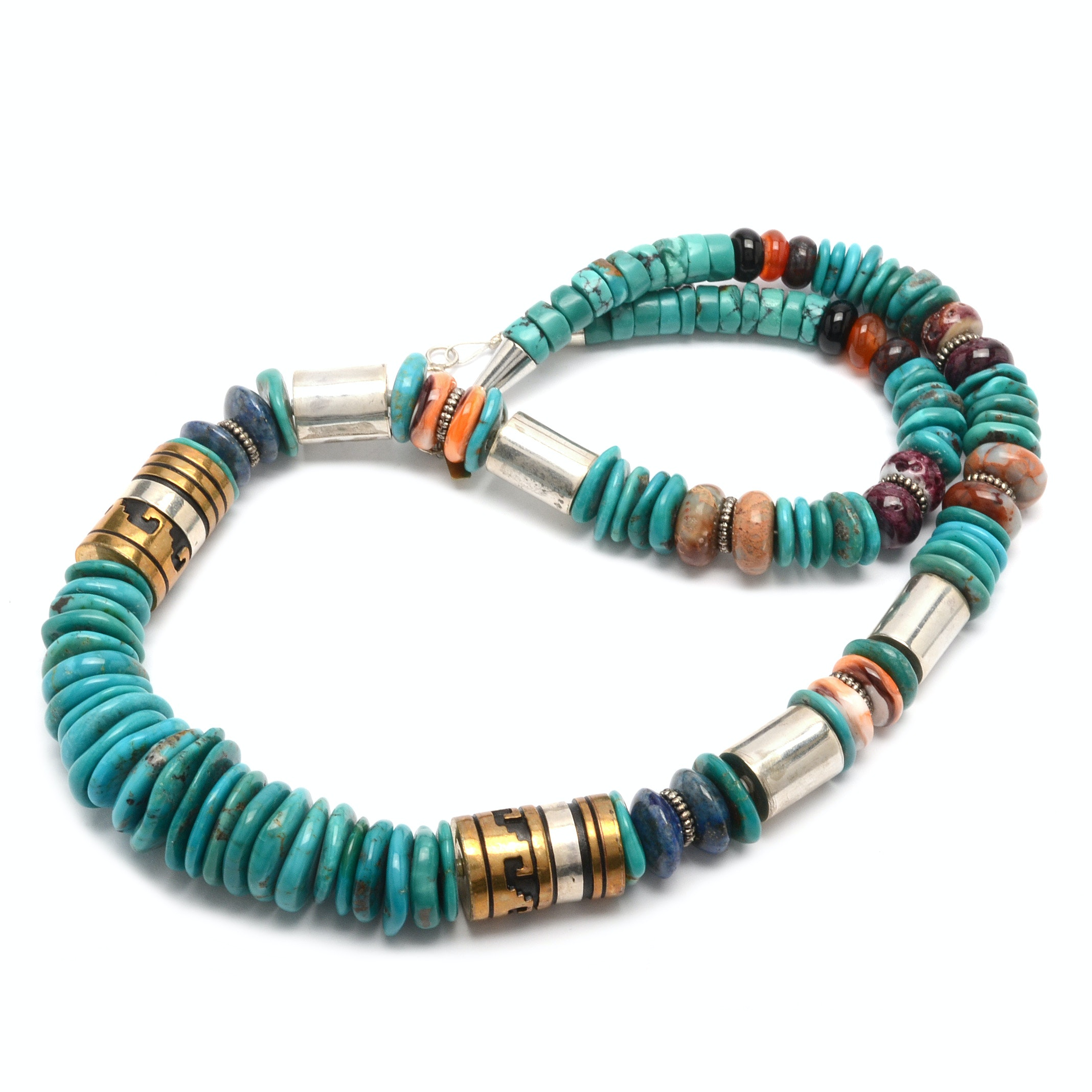 Tommy Singer Navajo Sterling Silver Turquoise, Lapis and Shell Necklace