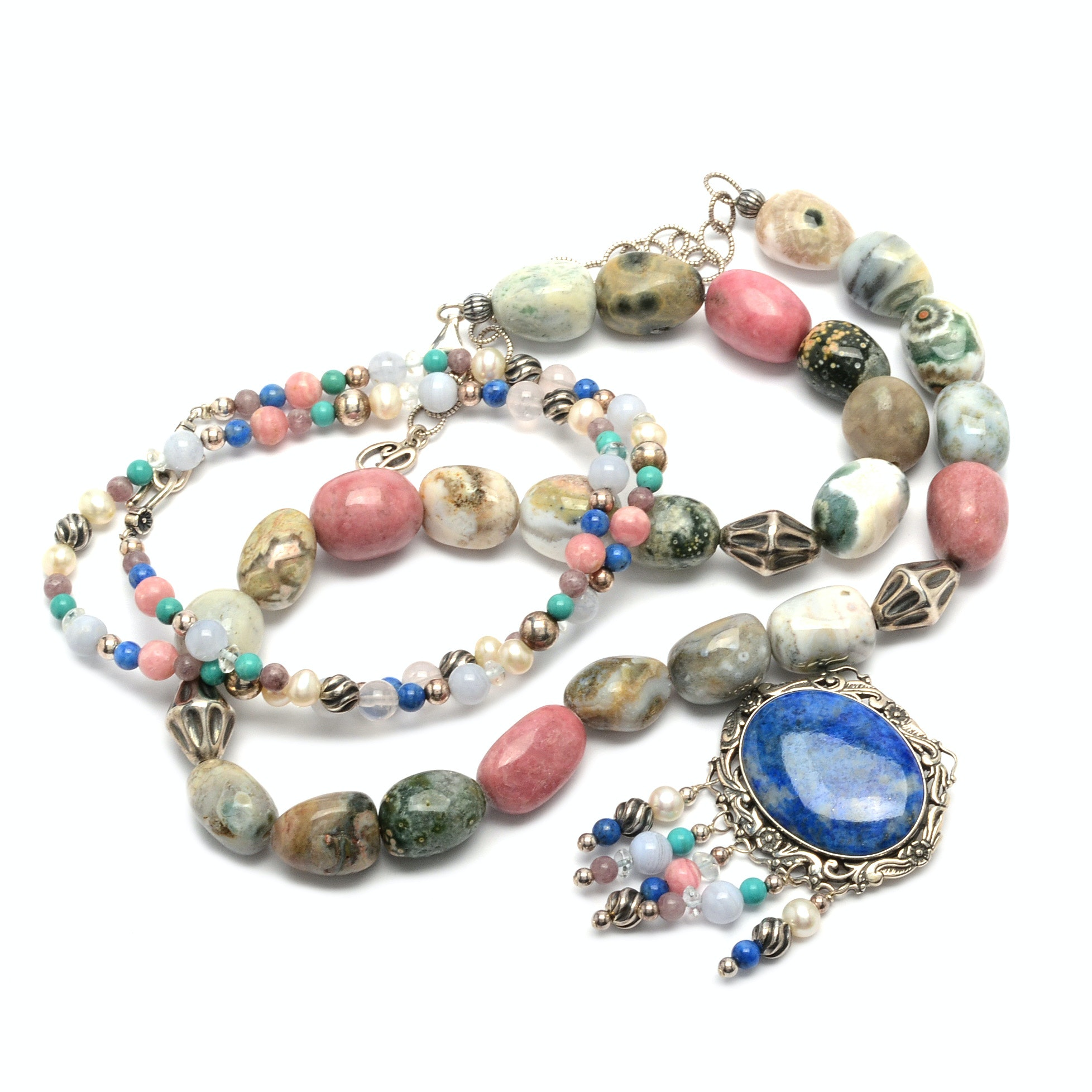 Carolyn Pollack for Relios Sterling Silver Lapis, Agate, Jasper Jewelry