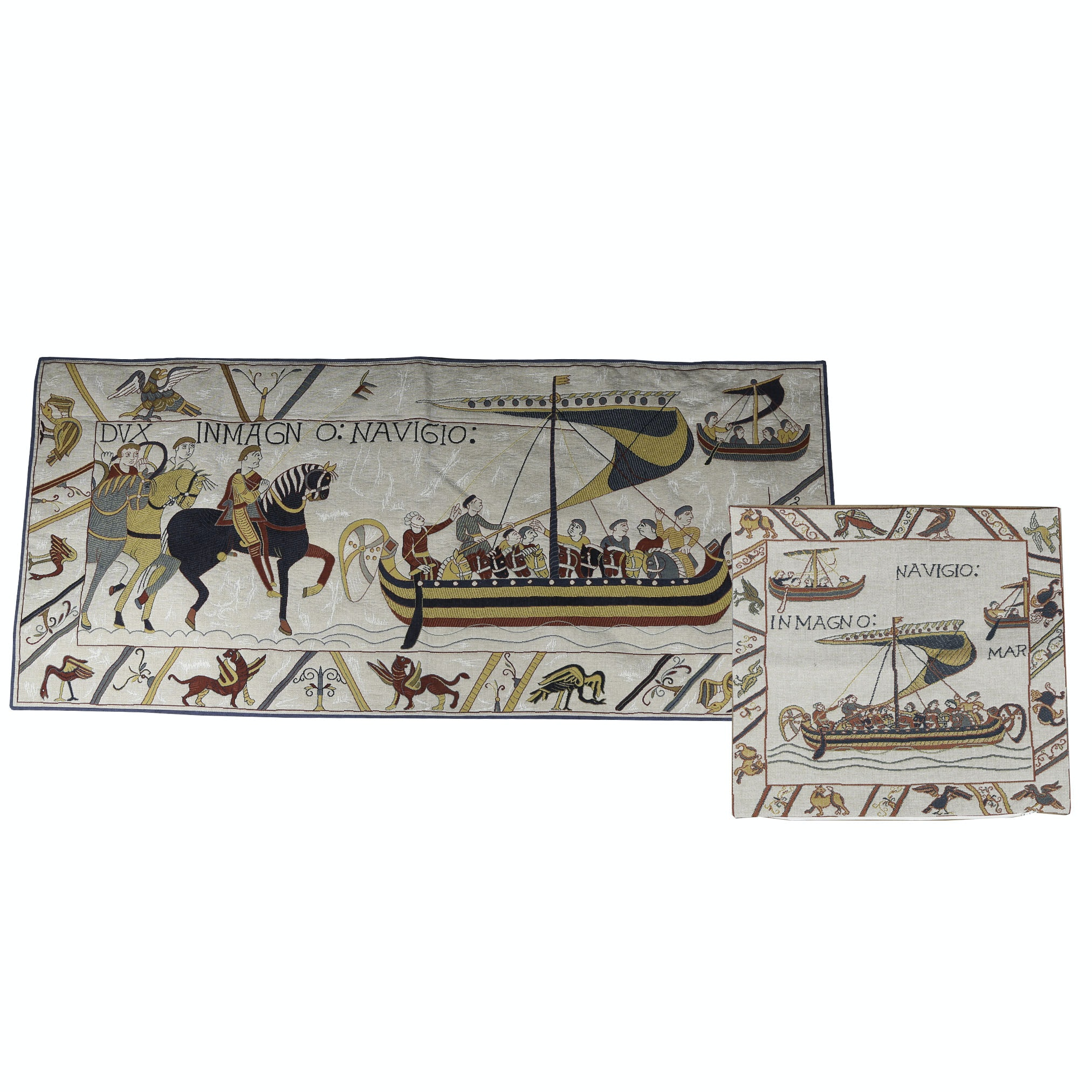 "Reproduction ""Bayeux Tapestry"" French Wall Textile and Pillow Cover"