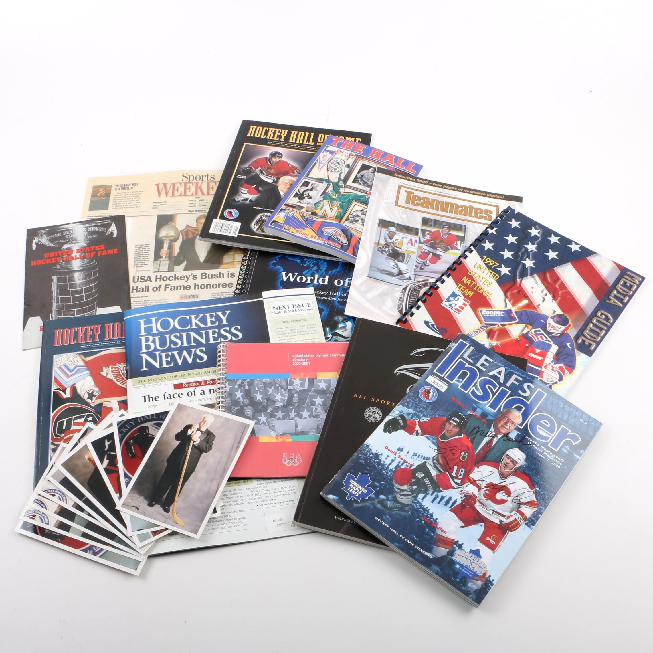 Collection of Hockey, Hall of Fame Catalogues, Ephemera and Photos