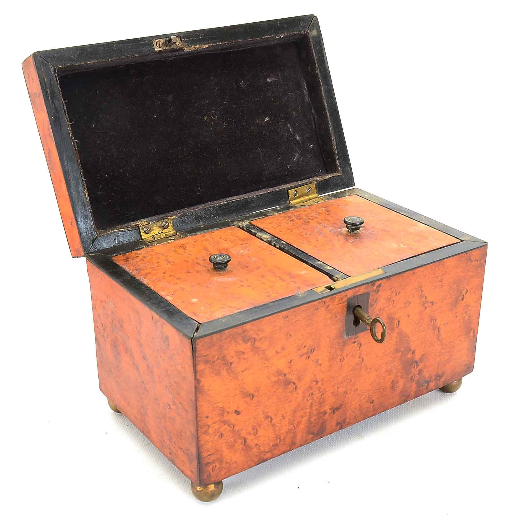 Antique Birdseye Maple Tea Caddy