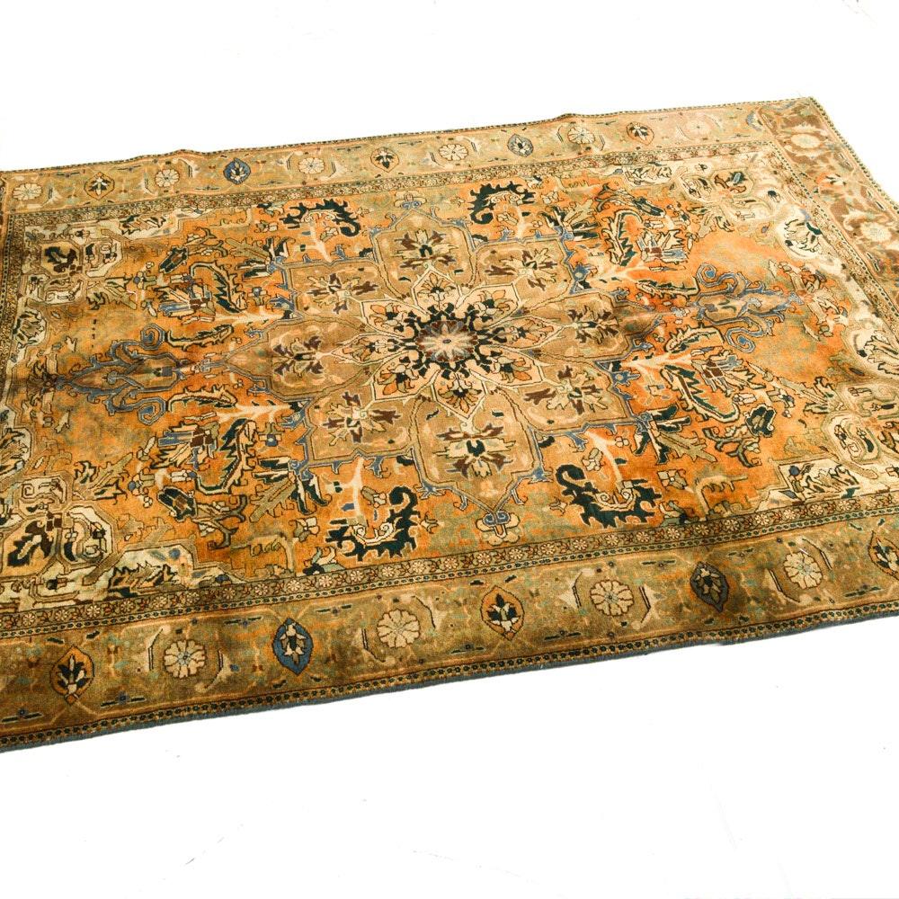 Semi-Antique Hand-Knotted Persian Serapi Heriz Area Rug