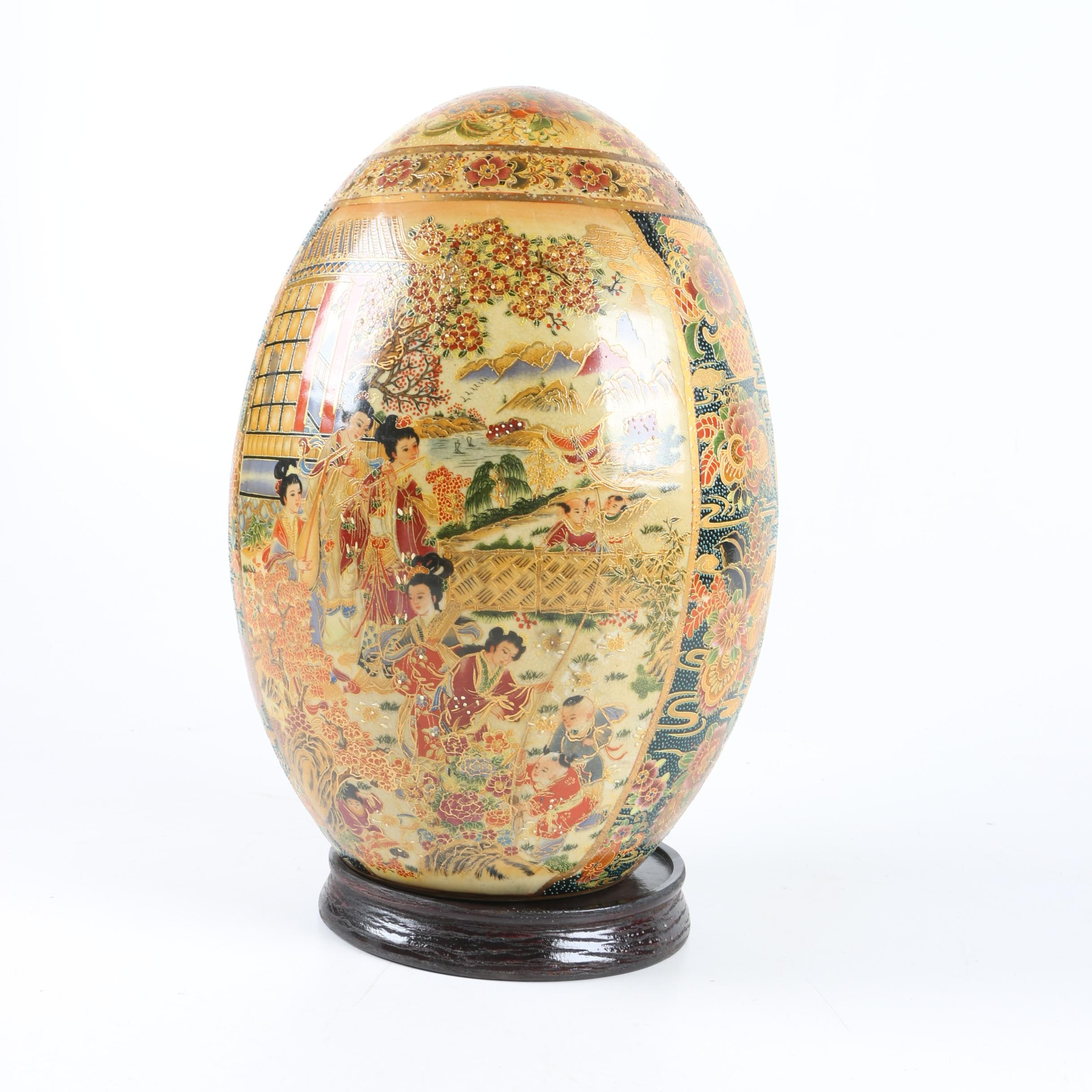 Chinese Satsuma Style Ceramic Egg with Wooden Stand