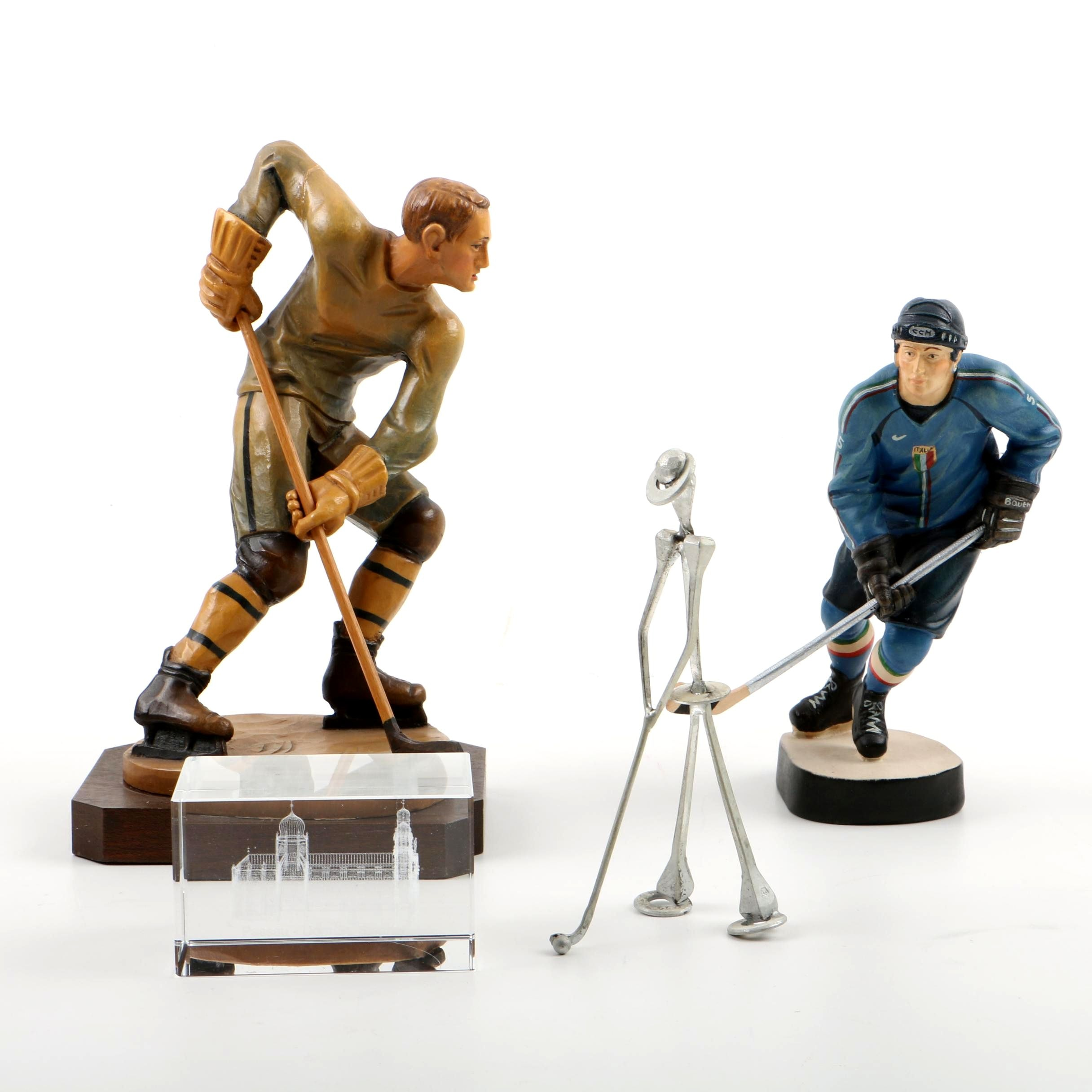 Two Composite Hockey Figurines With a Metal Golfer, and Paperweight of Passau
