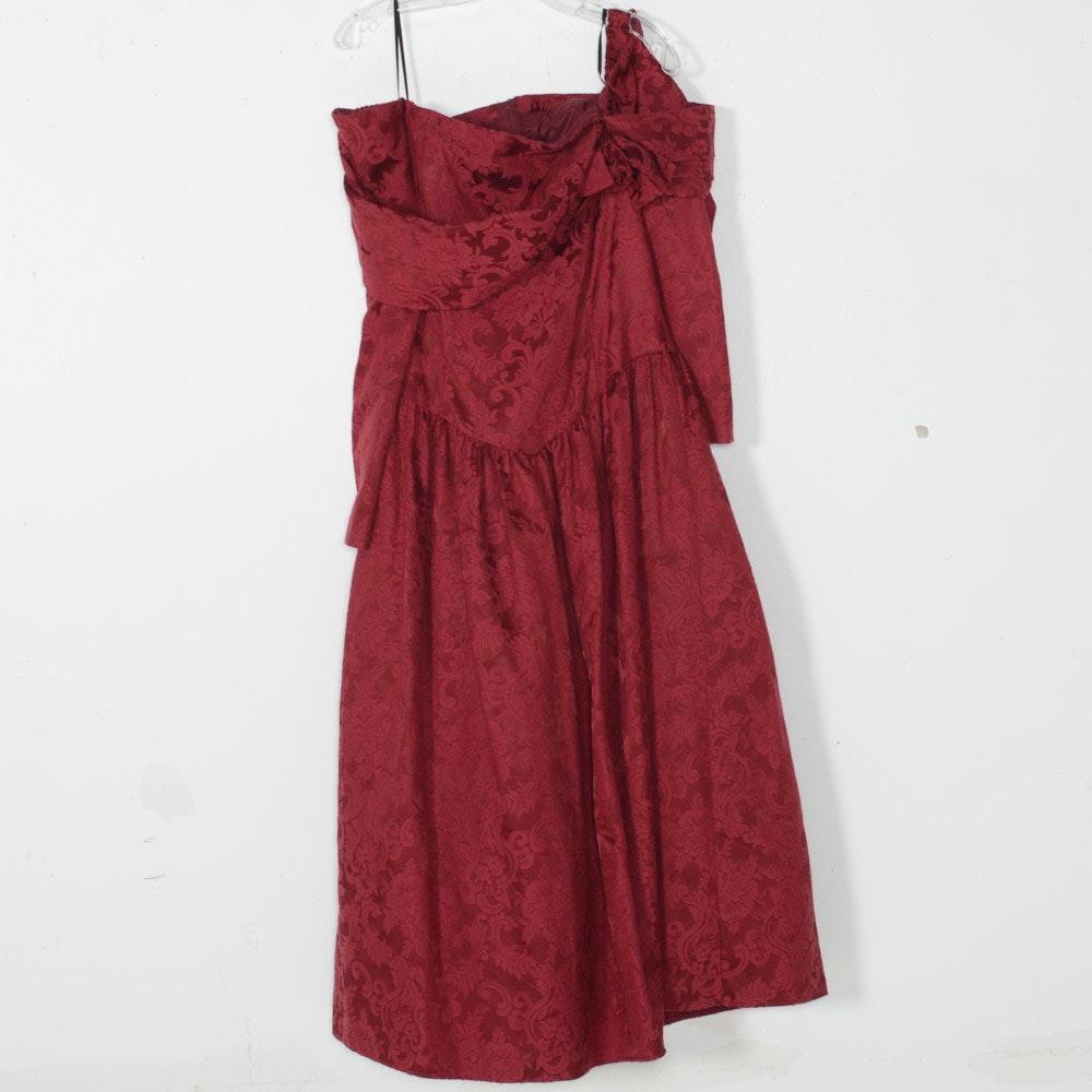 Vintage Jessica McClintock Bridal Maron Damask Off-the-Shoulder Dress