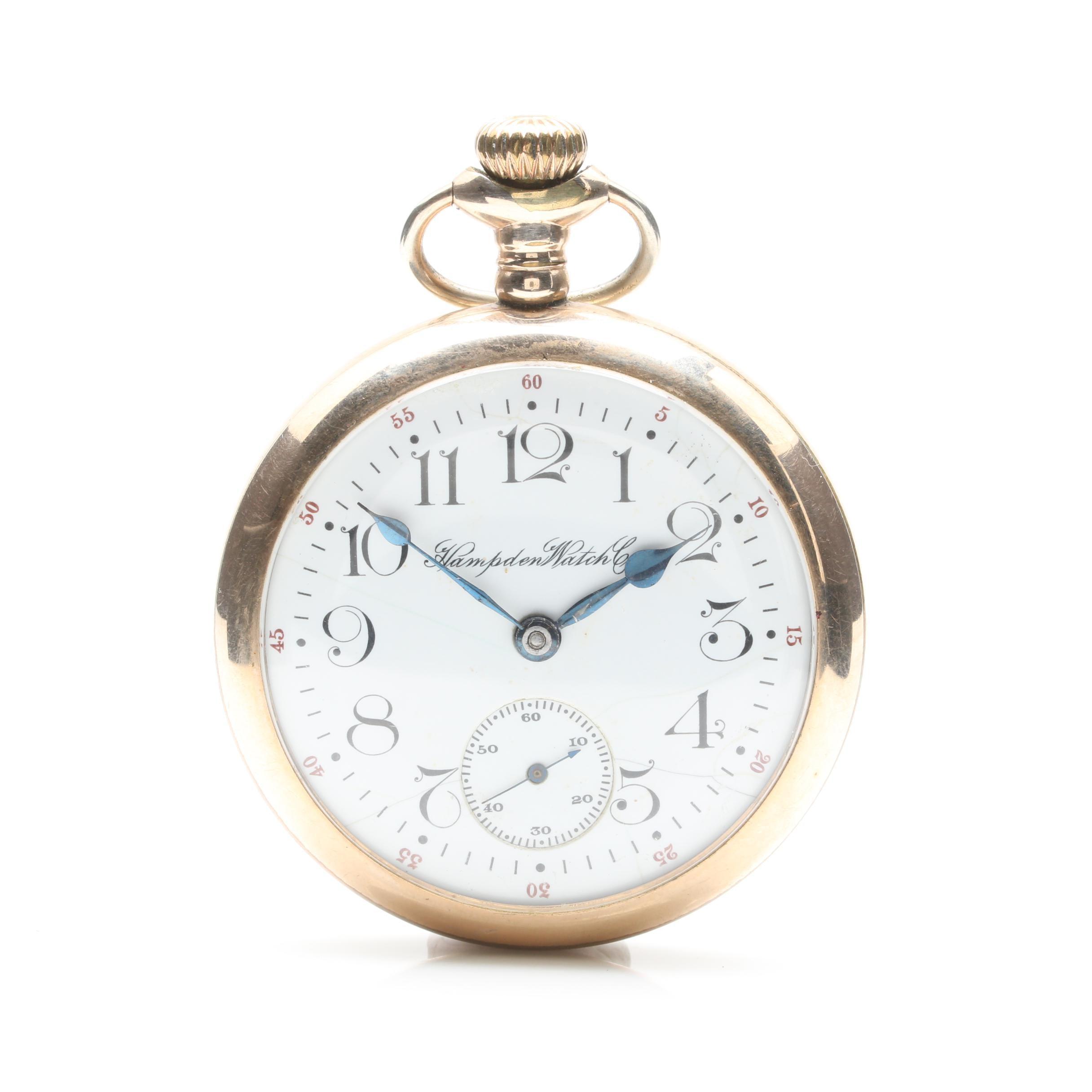 Antique Hampden Gold Filled Open Face Pocket Watch