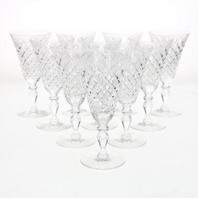 Set Of Twelve Hawkes Delft Diamond Water Goblets