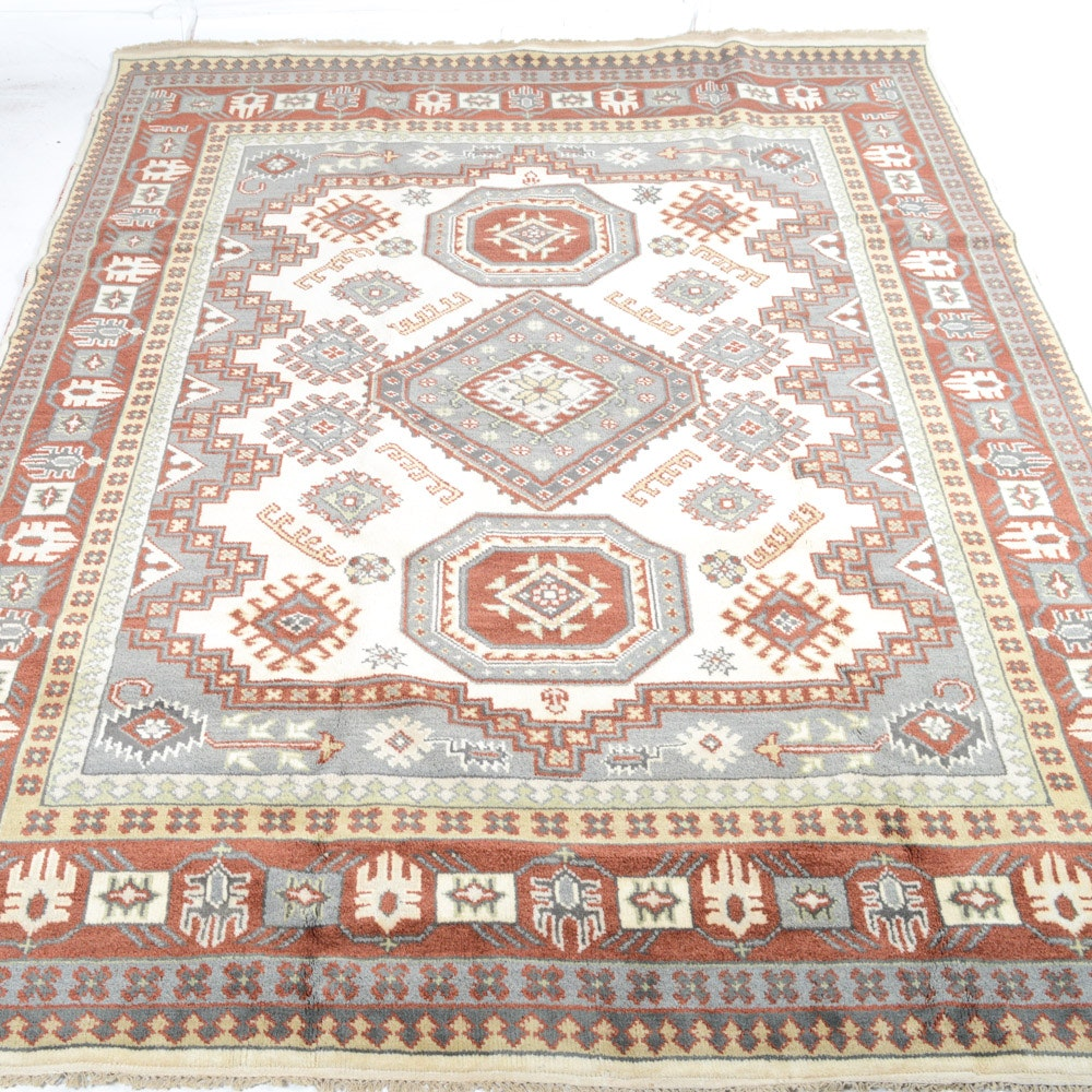Hand-Knotted Indo-Caucasian Kazak Room Size Rug