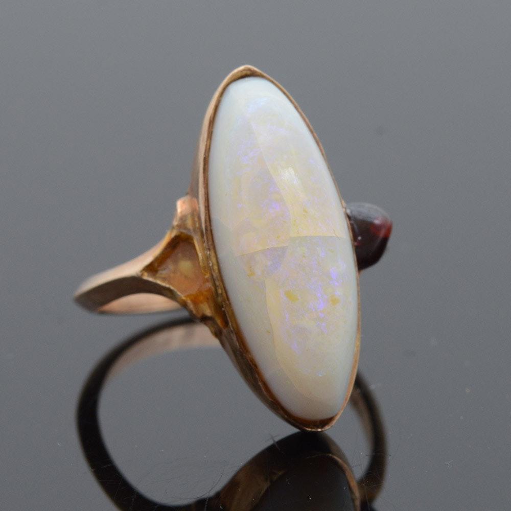 14K Yellow Gold Opal and Garnet Ring