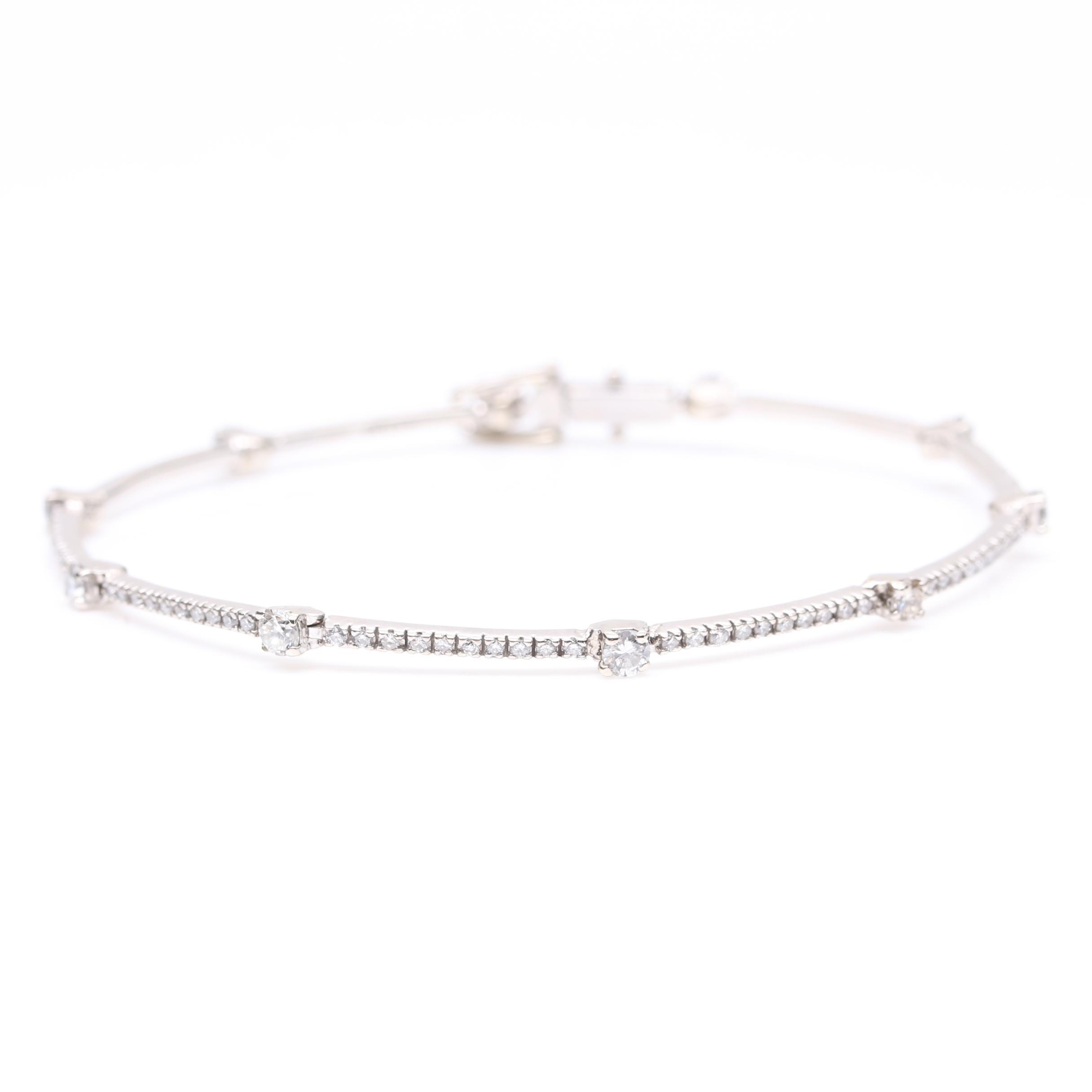14K White Gold 1.38 CTW Diamond Bangle Bracelet