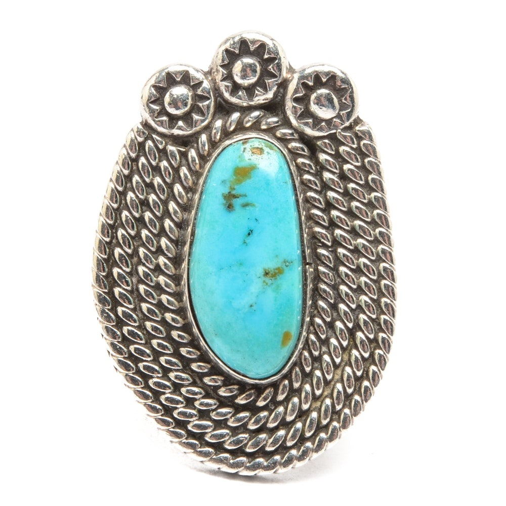 Jim Red Feather Navajo Diné Sterling Silver Turquoise Ring
