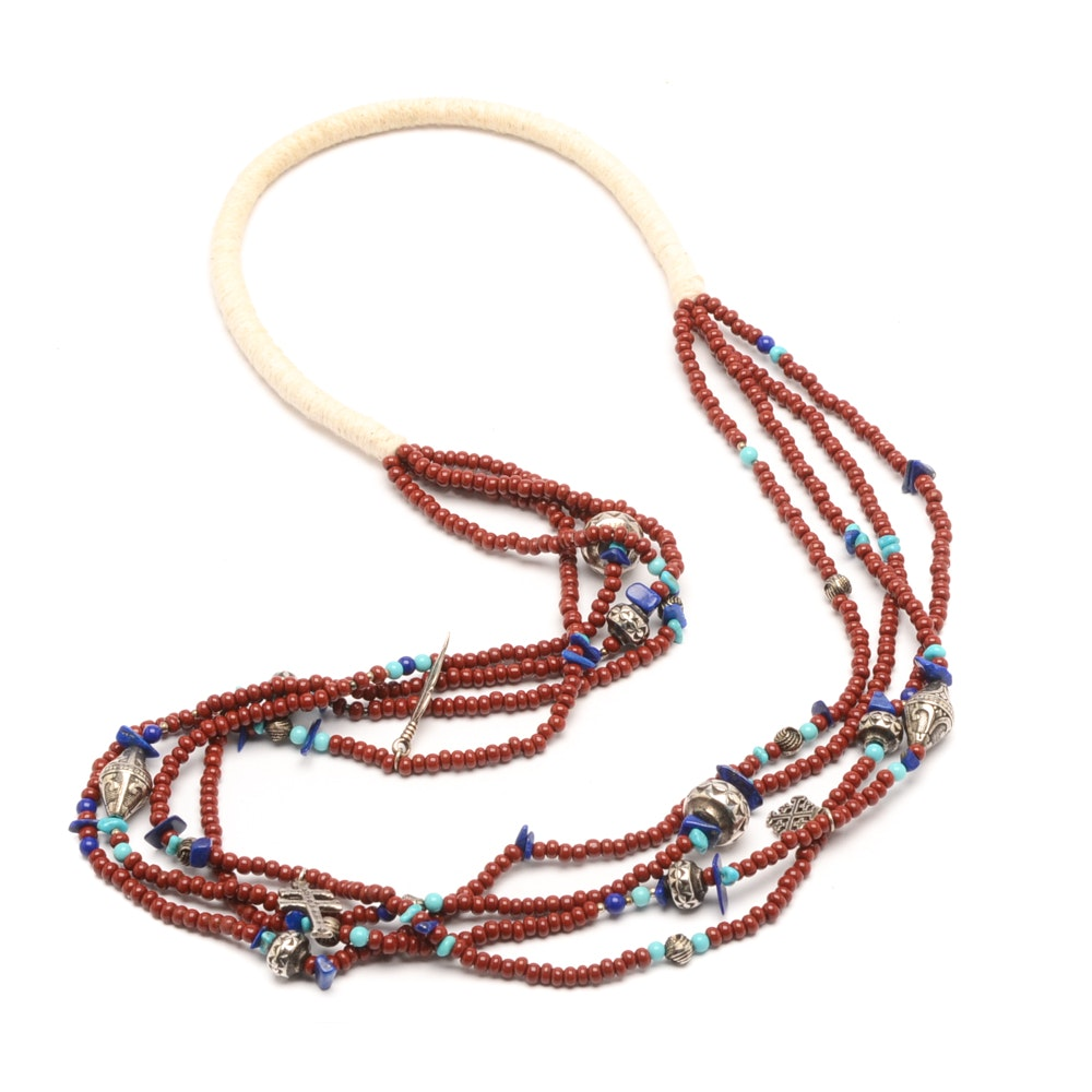 Four Strand Glass and Lapis Bead Necklace with Charms