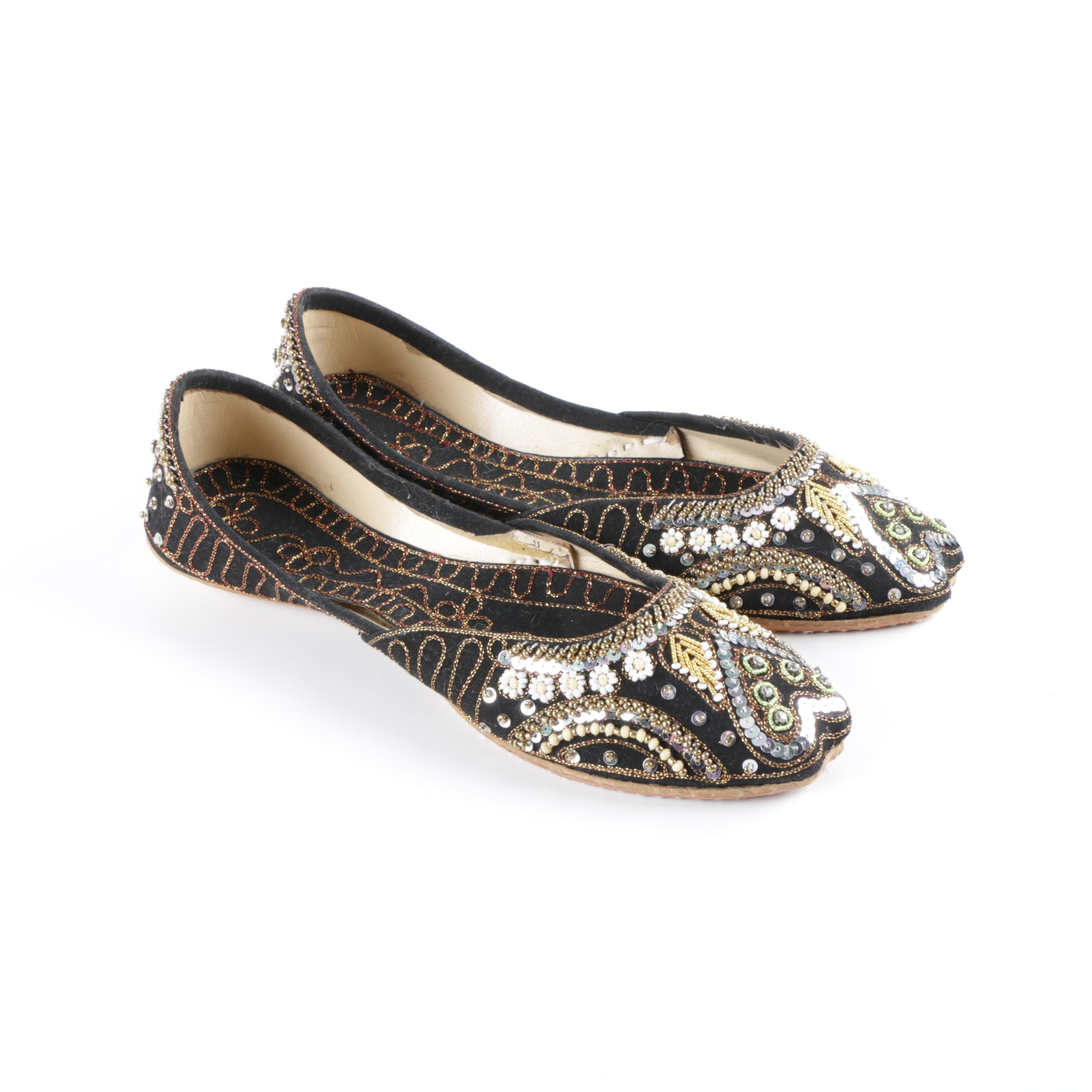 Women's South Asian Beaded and Embroidered Jutti Flats