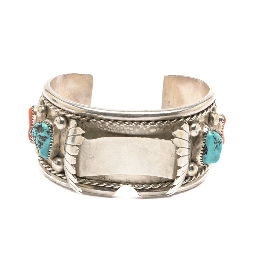 Wilbur Musquet Navajo Diné Sterling Silver Turquoise and Coral Watch Cuff