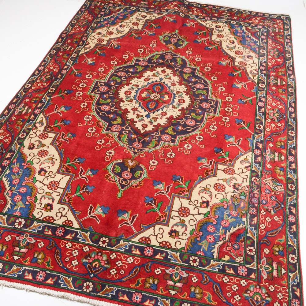 7' x 10' Semi-Antique Hand-Knotted Persian Tabriz Rug