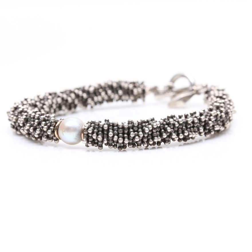 Michael Dawkins Sterling Silver Cultured Pearl Bracelet With 18k Gold Accents