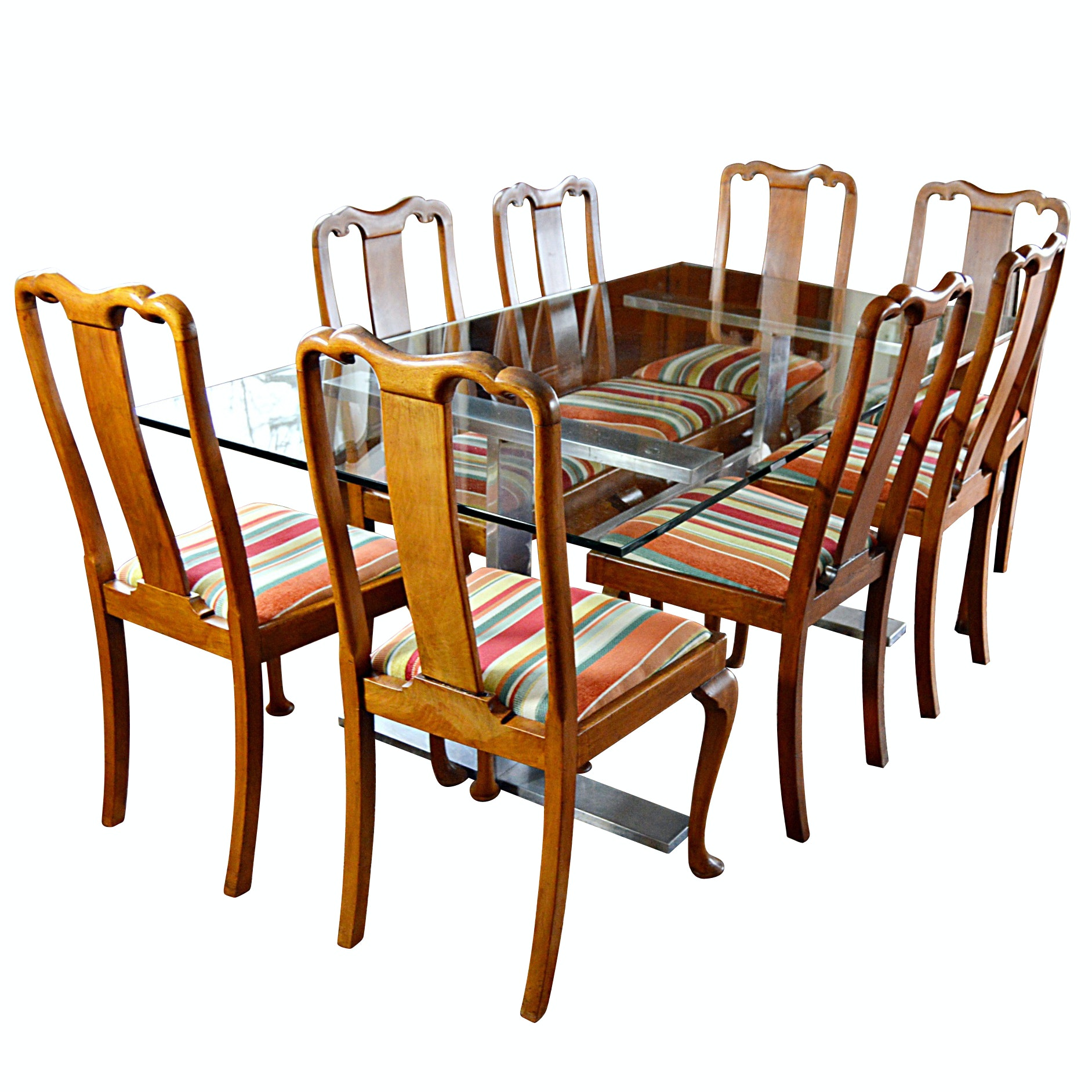 Contemporary Glass and Steel Table Paired with Set of Antique Chippendale Chairs