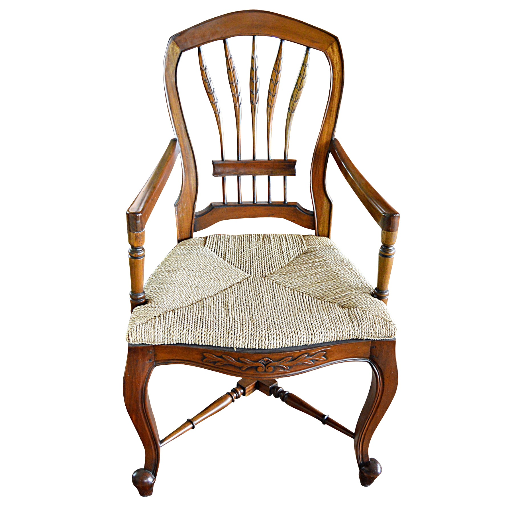 Antique Queen Anne Style Armchair with Rattan Seat