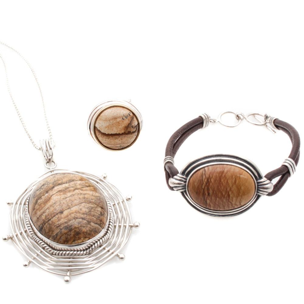 Sterling Silver Jasper Jewelry Featuring Robert Lee Morris and Suarti Bali