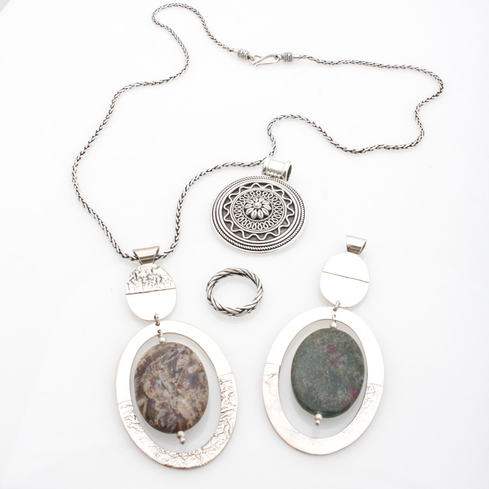 Sterling Silver Jasper and Anyolite Jewelry