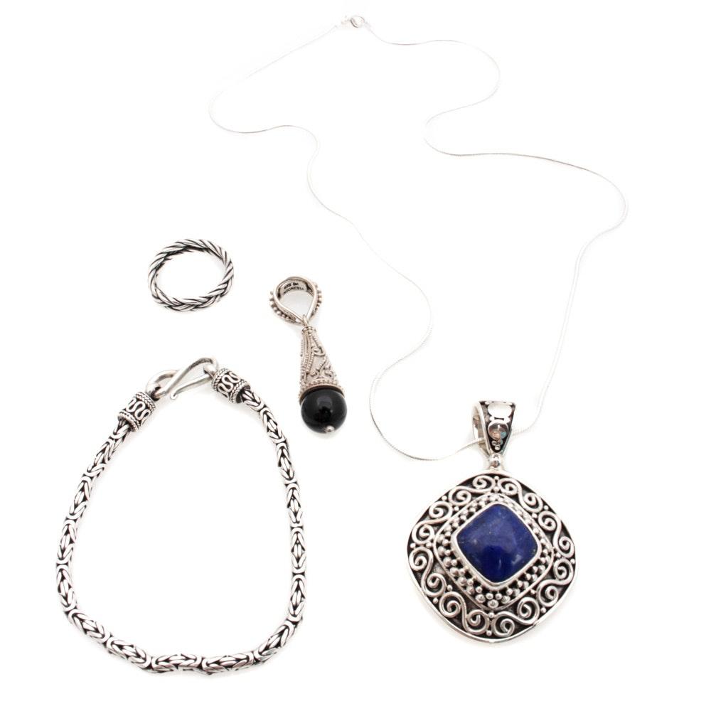 Suarti Bali Sterling Silver Jewelry Featuring Lapis Lazuli and Onyx