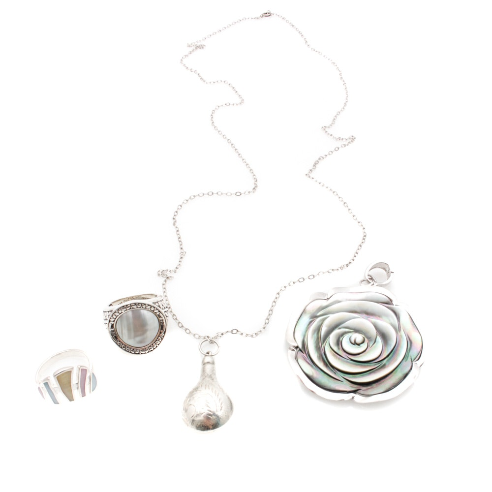 Sterling Silver Mother of Pearl and Shell Jewelry
