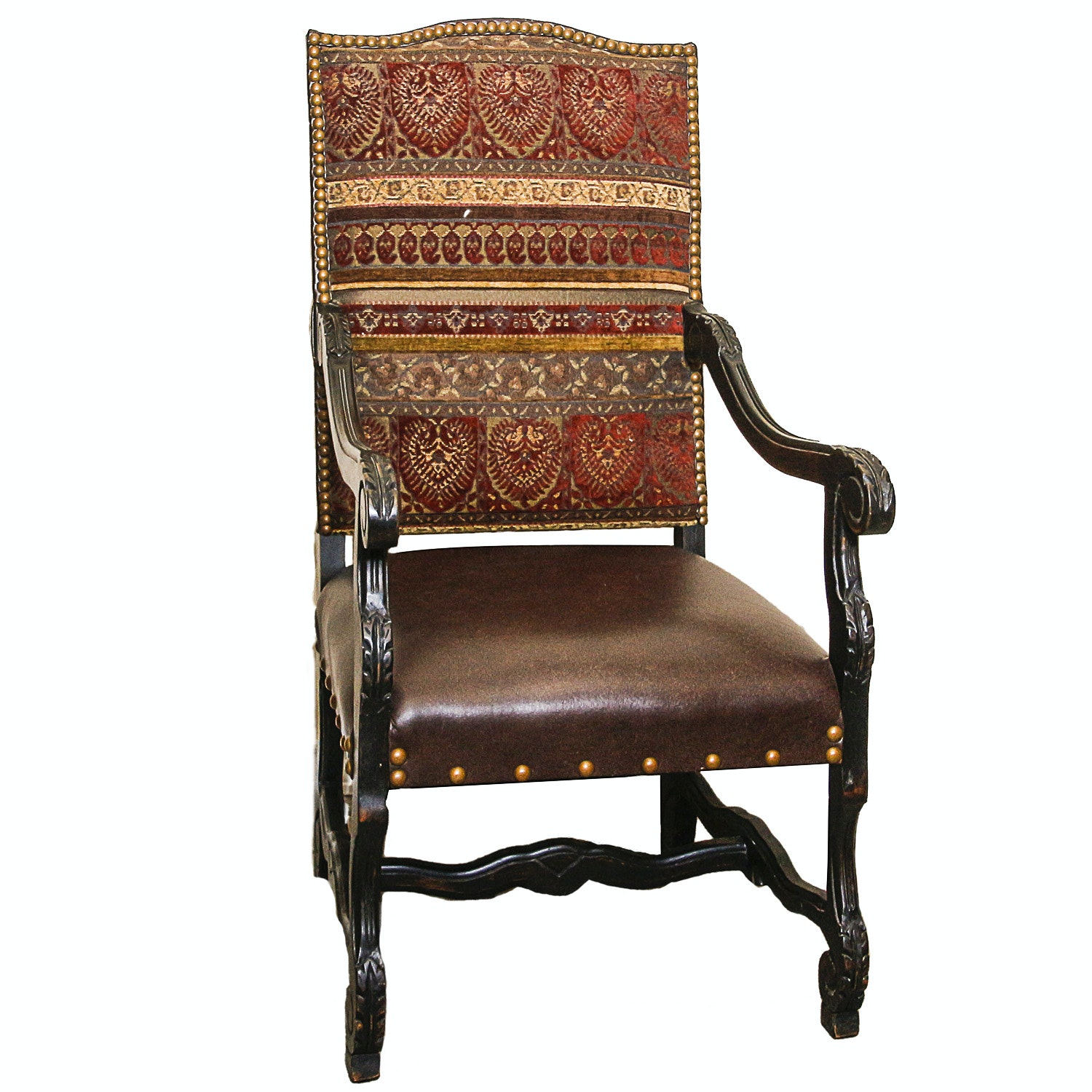 English Style Upholstered Library Armchair