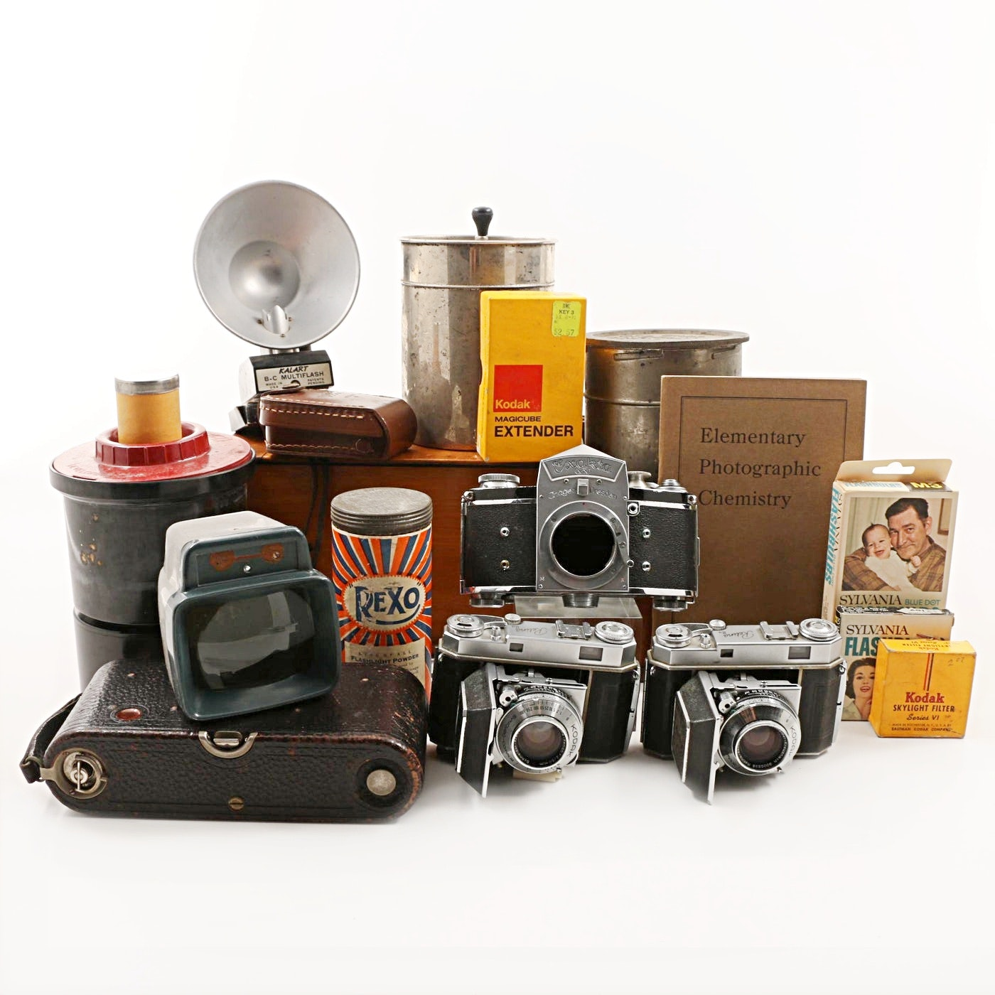 Vintage Kodak and Exakta Cameras with Photography Accessories