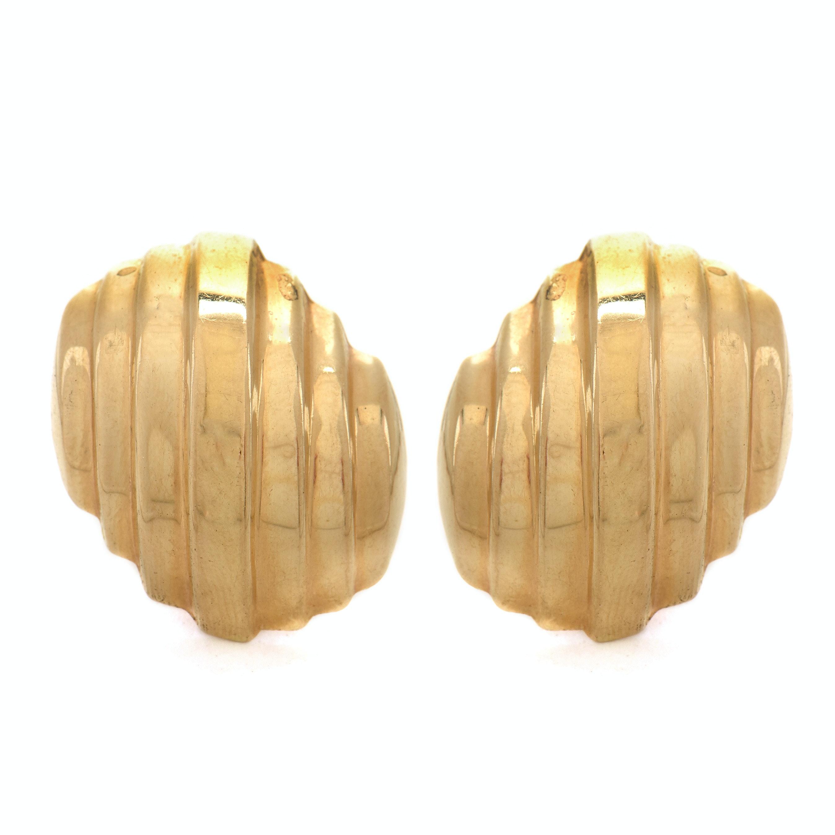 14K Yellow Gold Tiered Pierced Post Earrings