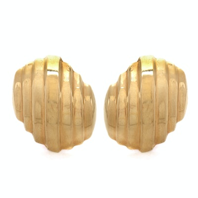 14K Yellow Gold Tiered Pierced Post Earrings