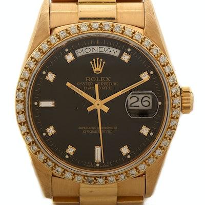 Rolex Day-Date 18K Yellow Gold and Diamond Dial Bezel Wristwatch
