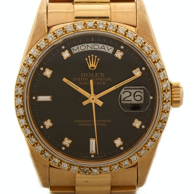 Rolex Day-Date 18K Yellow Gold and Diamond Dial Bezel Wristwatch