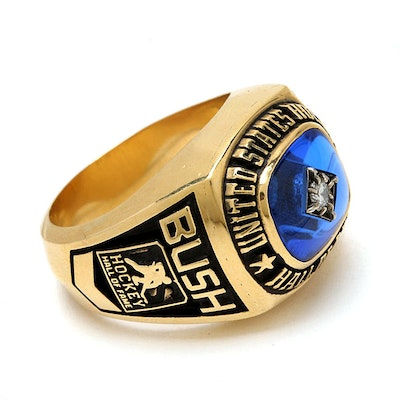 f22cd16f839a5 United States Hockey Hall of Fame 18K Yellow Gold Diamond Spinel Ring