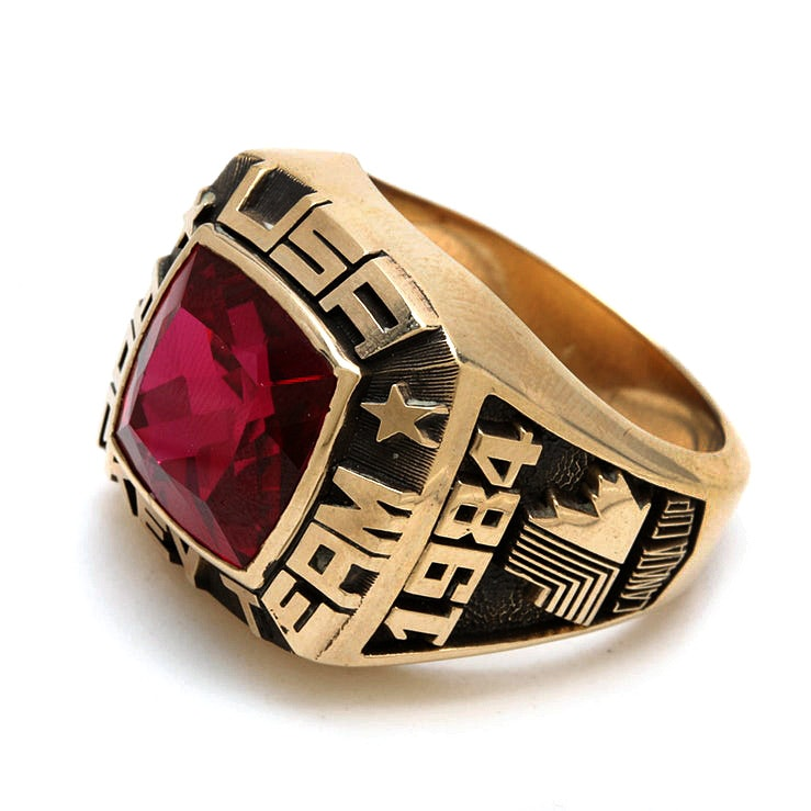 1984 Canada Cup USA Hockey Team 10K Yellow Gold Synthetic Ruby Ring