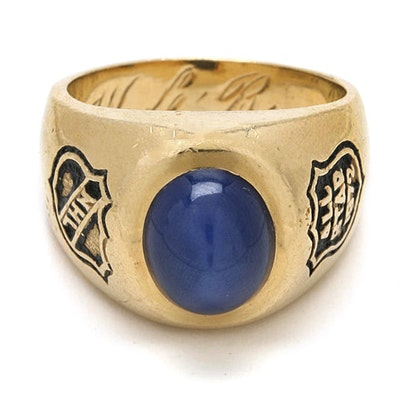 1972 National Hockey League All-Star 14K Yellow Gold Star Sapphire Ring