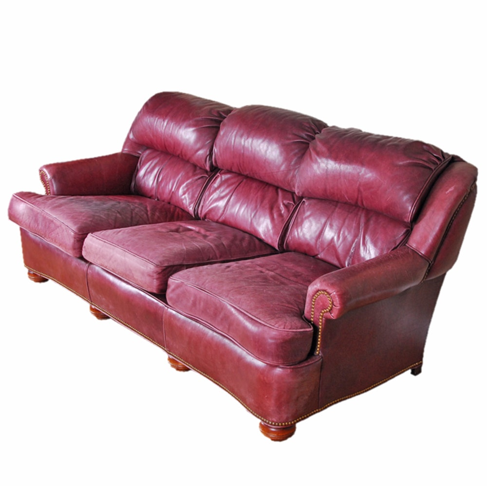 Vintage Leather Sofa by McKinley Leather of Hickory