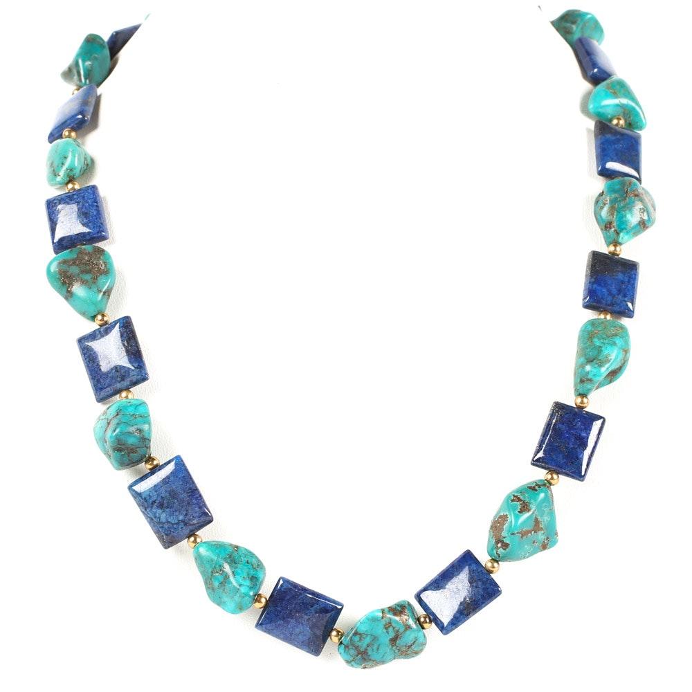 Turquoise and Lapis Lazuli Tumbled Stone Necklace