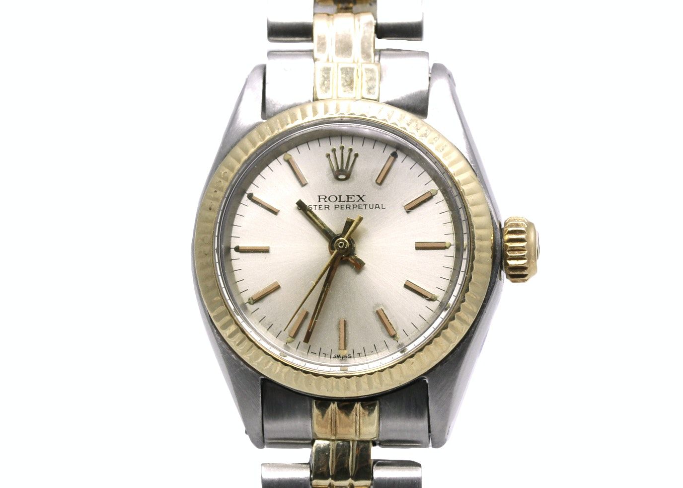 14K Gold Accented and Stainless Steel Rolex Oyster Perpetual Wristwatch
