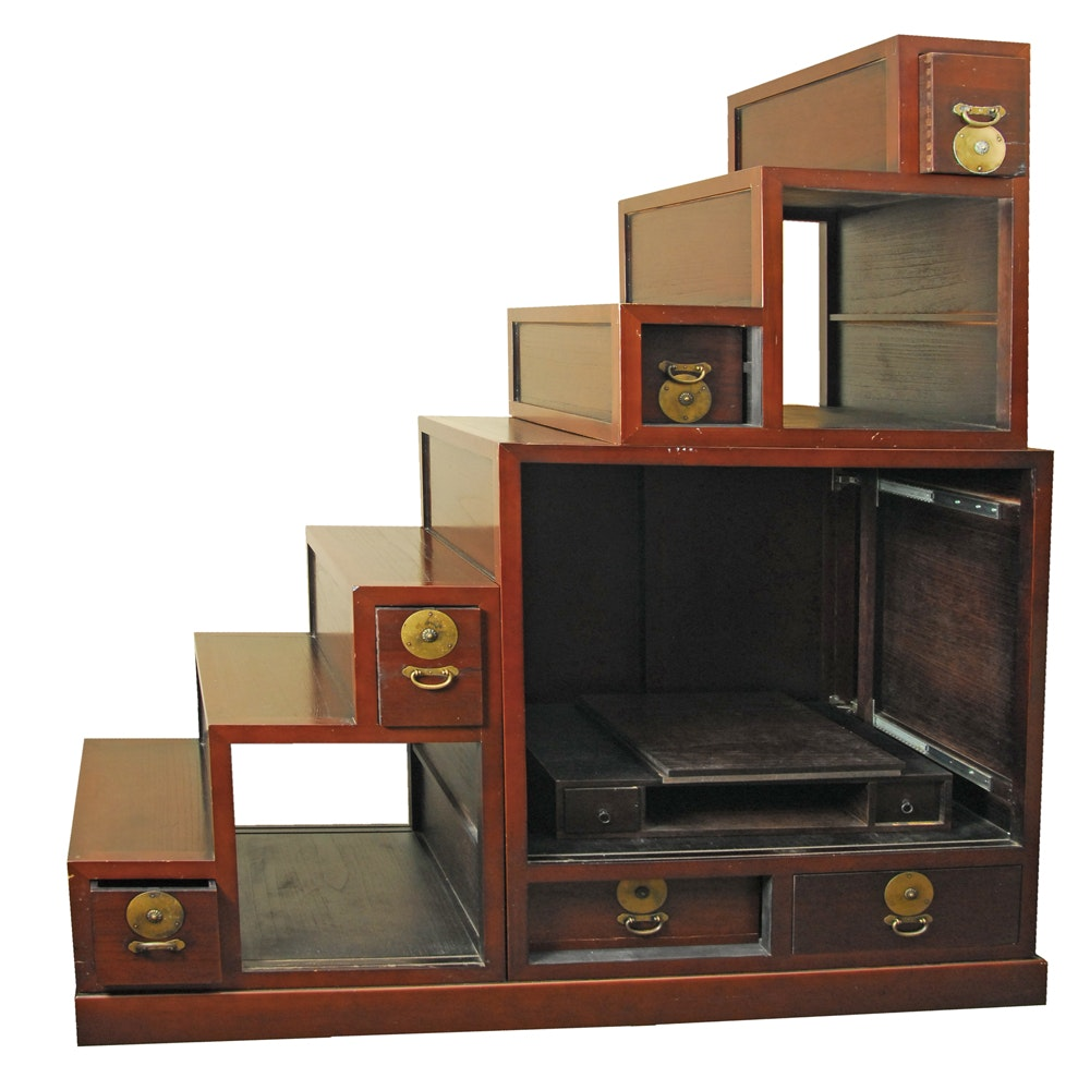 Contemporary Stepped Tansu Entertainment Cabinet ...